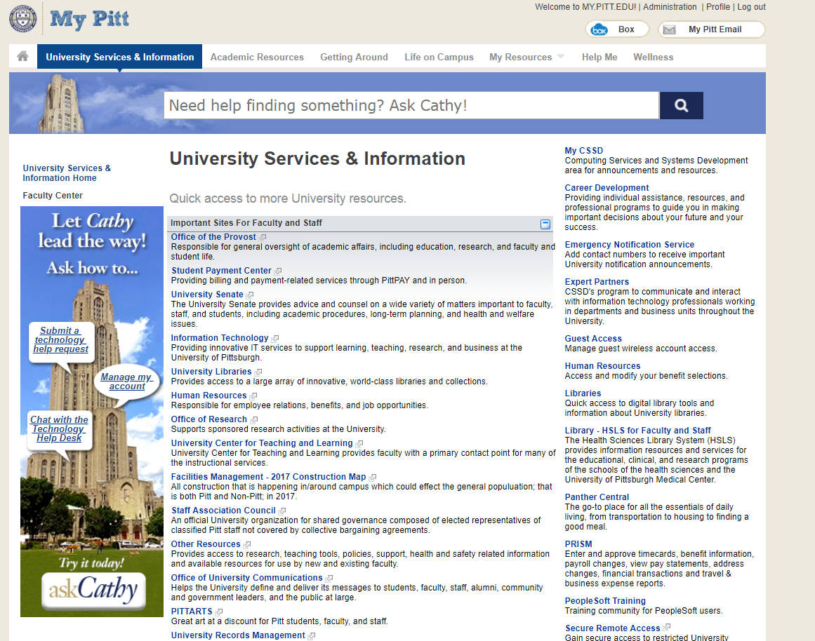 My Pitt University Services & Information