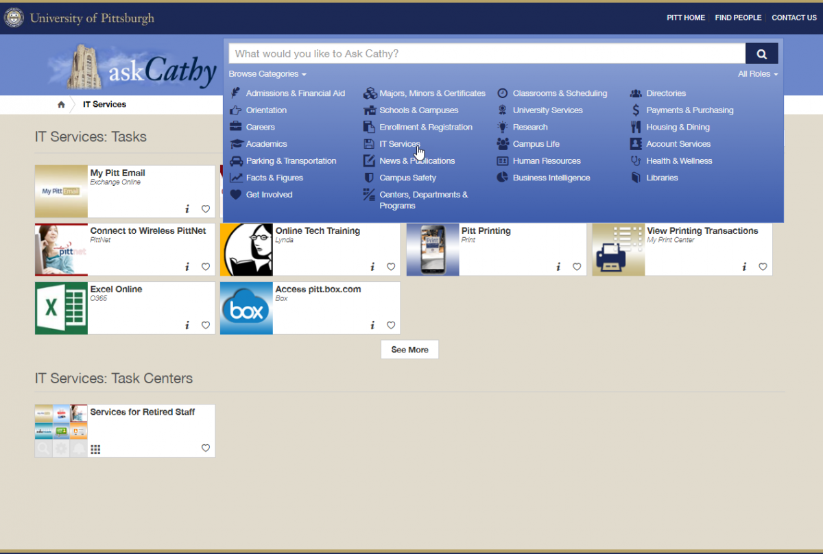 askCathy Browse Categories and Task Centers