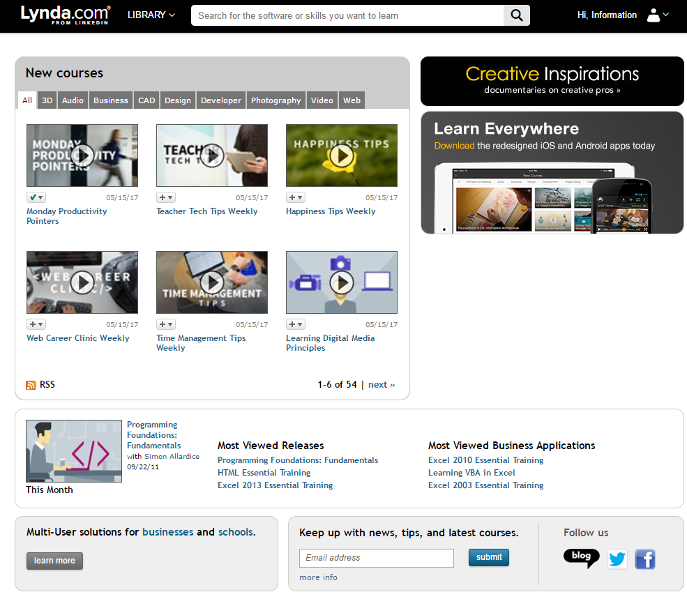 Find new releases and most viewed courses