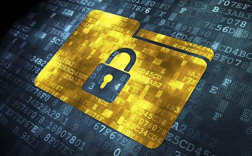cybersecurity image of lock over folder
