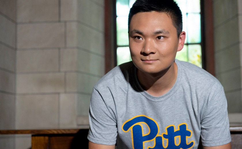 Pitt Student in Pitt Shirt
