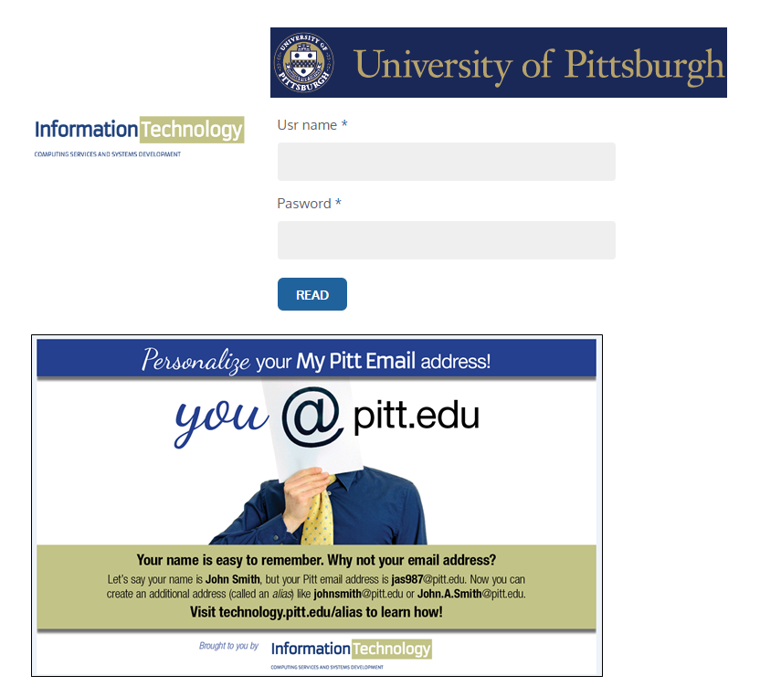Phishing scam login page