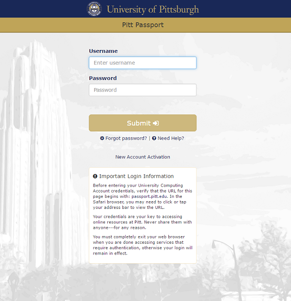 Fake Pitt Passport login page