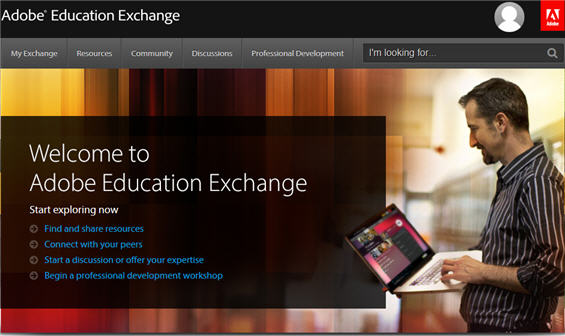 Adobe Education Exchange Welcome Page