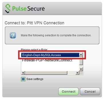 Select your Secure Access role, then click connect