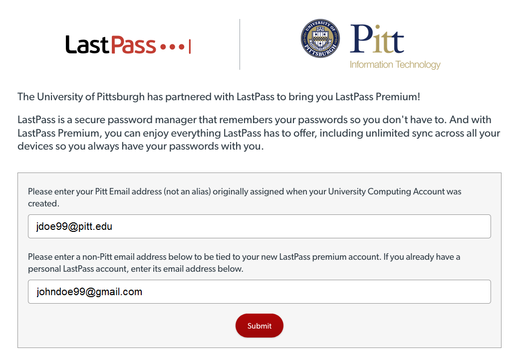 LastPass Sign Up Page