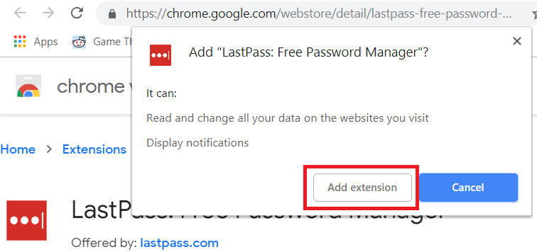 Add Extension Confirmation Pop Up