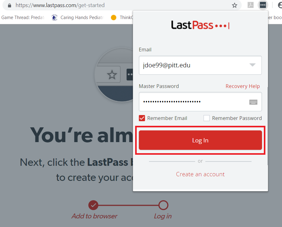 LastPass Login Pop Up with Log In Highlighted