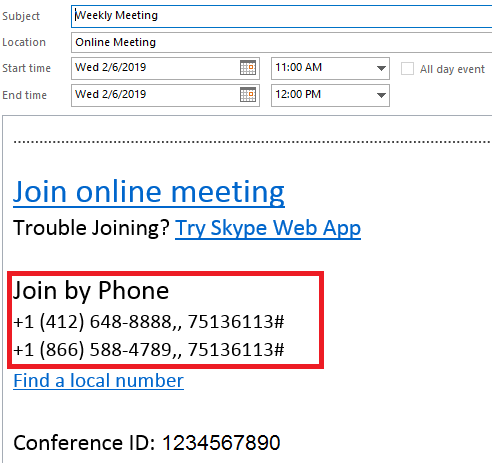 Office 365 Dial-in Conferencing Screenshot