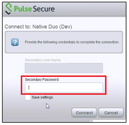Pulse Secondary Password