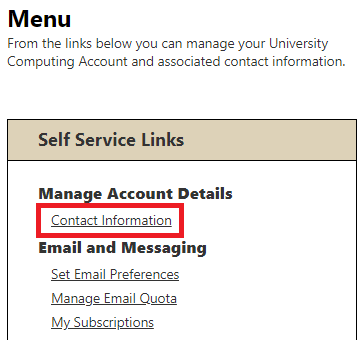 screenshot of contact information view from accounts.pitt.edu