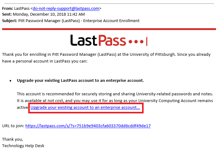 Last Pass Confirmation Email
