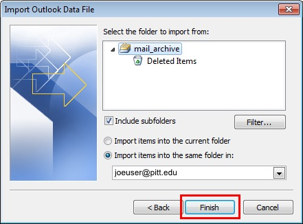 Email: Moving Archived Mail from a PST File to Office 365 | Information  Technology | University of Pittsburgh