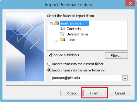 Import Personal Folders into the same folder in