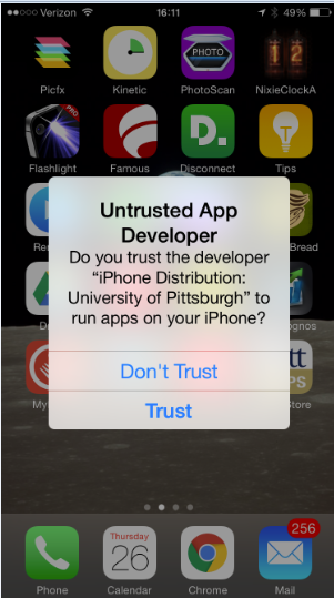 iOS Trust message
