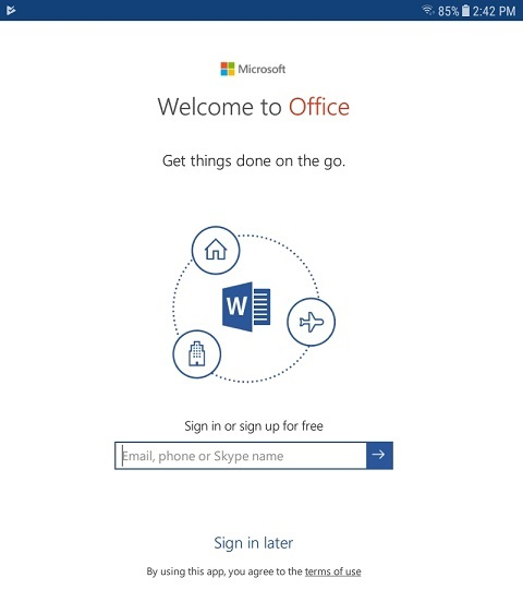 Microsoft Office App Sign In Screen