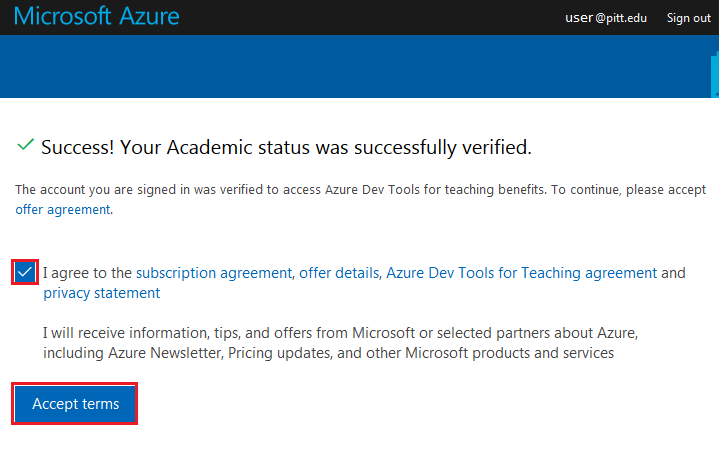 Microsoft Azure Status Successfully Verified Window