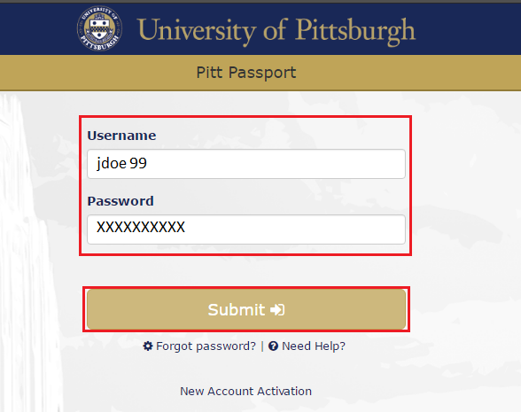 enter your University Computing Account username and password