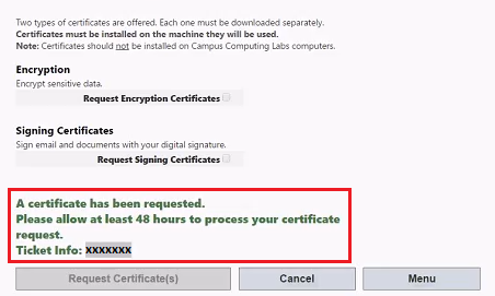 Using Digital Certificates Confirmation Message