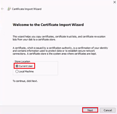 Select Current User - import wizard