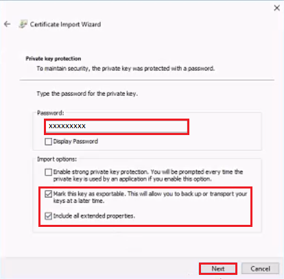 Private key protection settings - import wizard