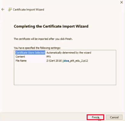 Completion Screen for Certificate - import wizard