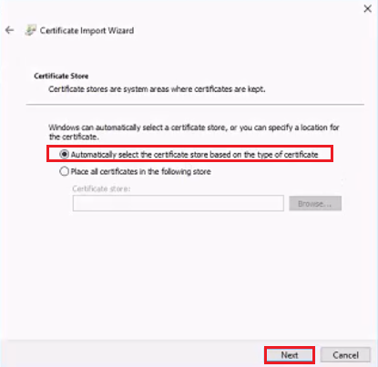 Select Certificate Store- import wizard