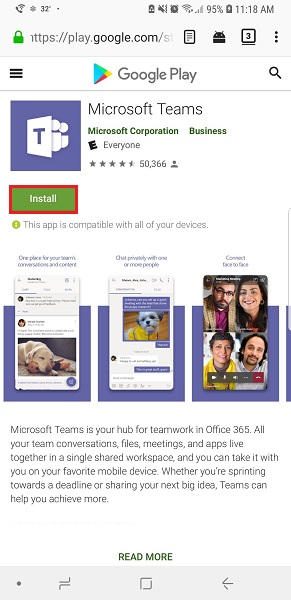 Google Play Microsoft Teams Listing with Install Highlighted