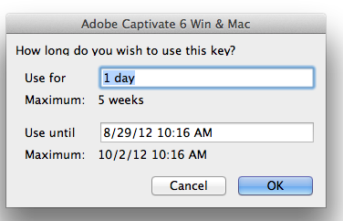 Software Use Duration Pop-up