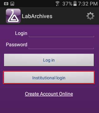 Institutional login for Android users