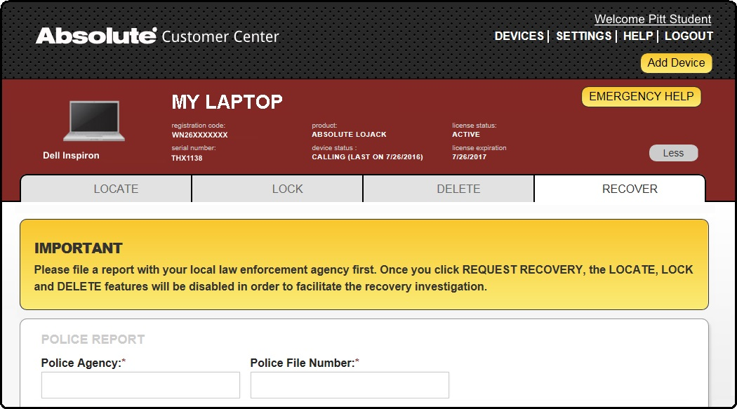 Absolute Customer Center Recover Tab