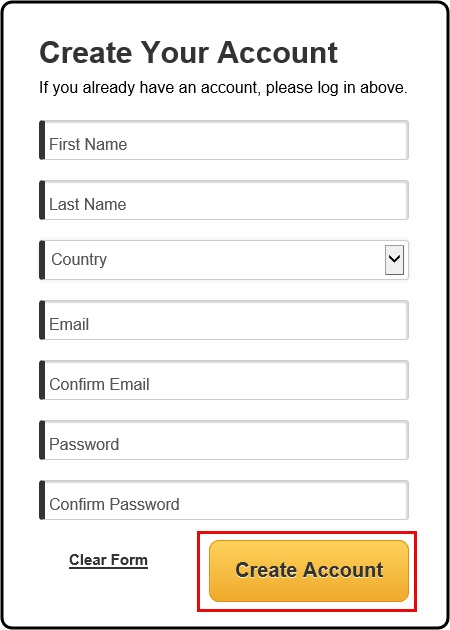 Enter your account information and click Create Account