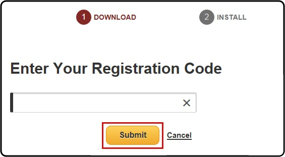 Enter your registration code and click Submit