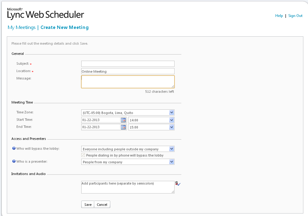 Web scheduler