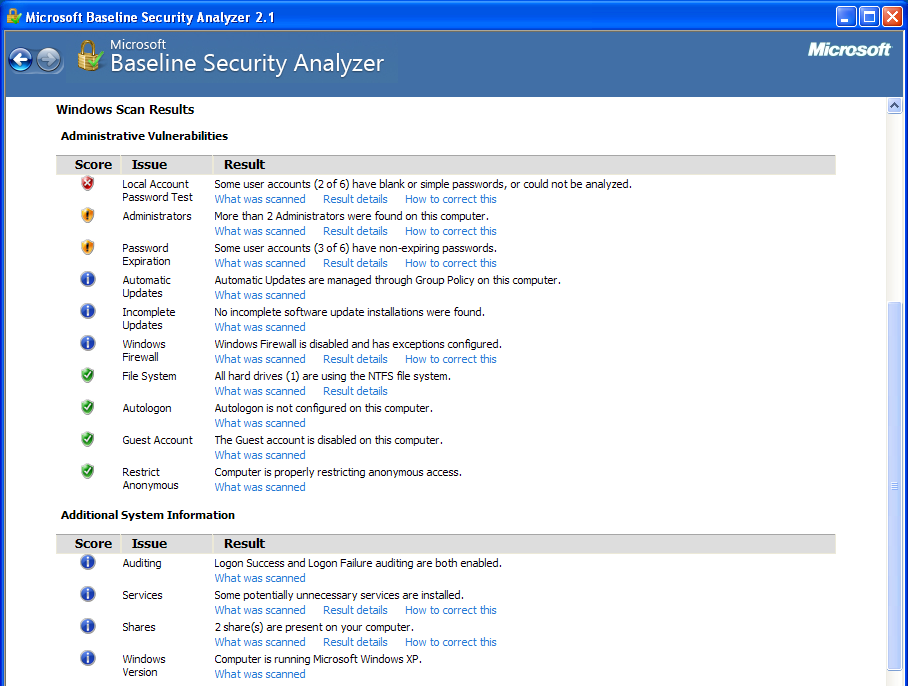 Microsoft Baseline Security Analyzer Scan Results
