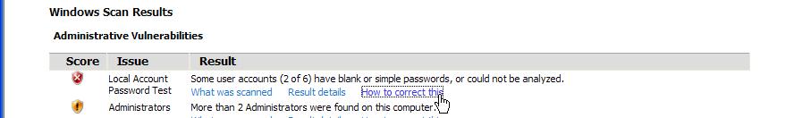 Help using the Microsoft Baseline Security Analyzer (MBSA