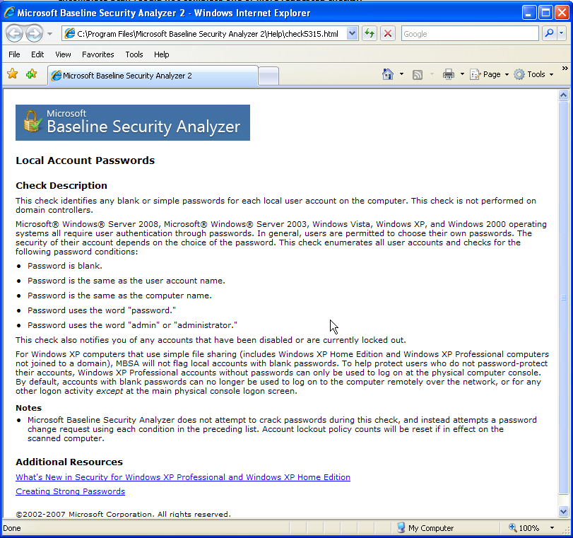 Microsoft Baseline Security Analyzer Recommended Solution