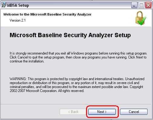 Microsoft Baseline Security Analyzer Setup with Next Highlighted