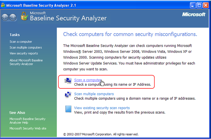 Microsoft Baseline Security Analyzer Main Screen with Scan a Computer Highlighted