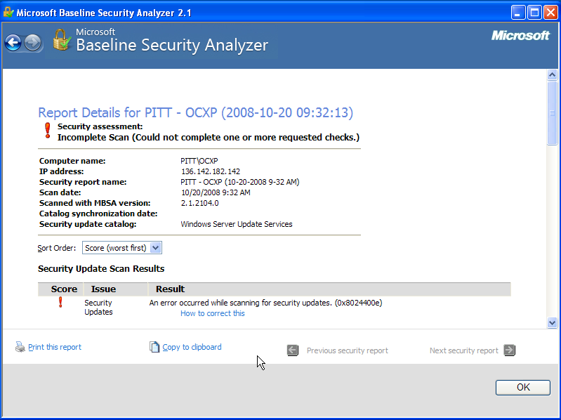 Microsoft Baseline Security Analyzer Scan Report Details