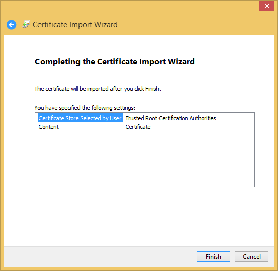 Main cert window