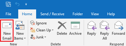 Create a new email in Outlook 2013 or 2016
