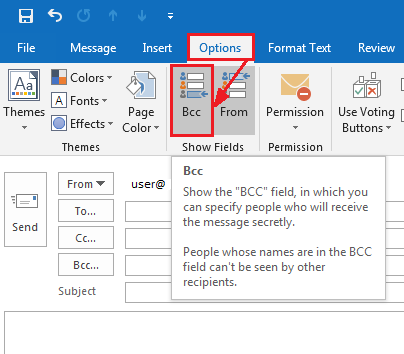 Select the BCC option in Office 2013 or 2016