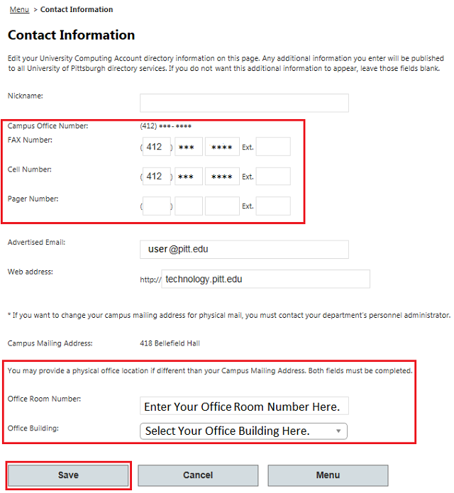 Enter Your Phone Numbers and/or Physical Office Location