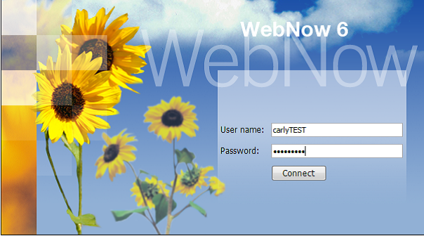 Image of WebNow Login screen