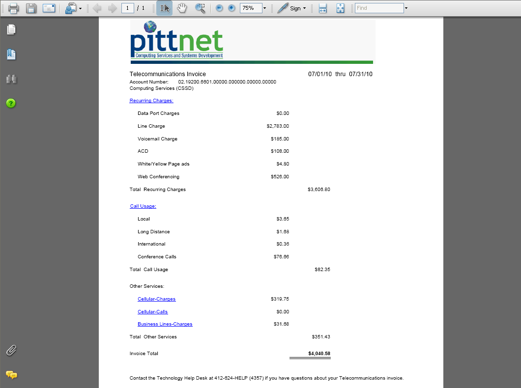 Telecom billing screenshot 13