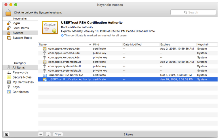 Installing the InCommon and UserTrust Certificates (Mac ...