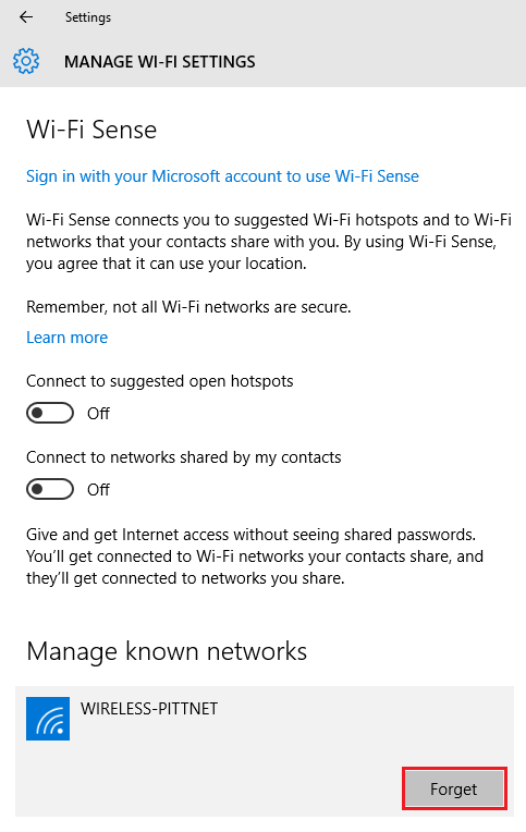 Windows 10 Forget Your WiFi