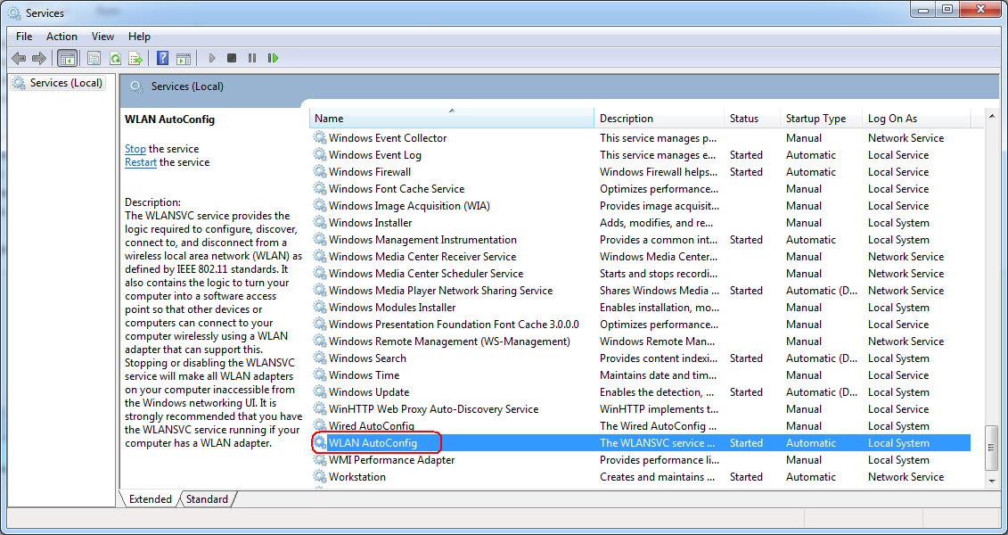 Windows Vista WLAN Settings