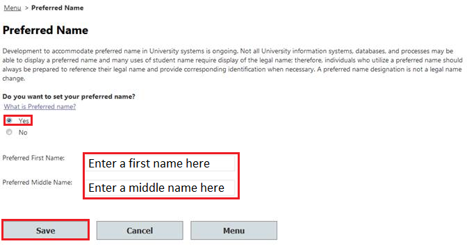 Select Preferred Name - screenshot 2